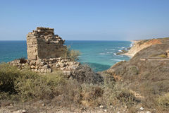 Ruins. Overlooking the Mediterranean Sea in Apollonia National Park in Herzliya, Israel Royalty Free Stock Photography