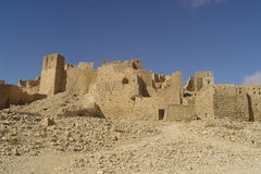 Ruins. An anonymous ruined village on the road leading north from Sana'a, Yemen Royalty Free Stock Photos