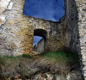 Ruins. Ruined castle in a horror atmosphere stock images