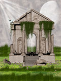 Ruins. In the garden with dove Royalty Free Stock Image