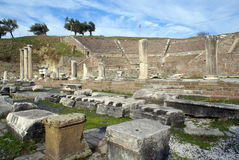 Ruins. Theater and ruins in Asklepion, Bergama, Turkey Royalty Free Stock Photos