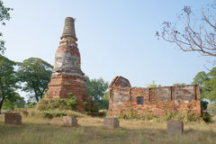 The ruins of an abandoned ancient temple Wat Langkhadum Ayuthaya Stock Photography