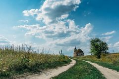 Ruins of abandoned ancientRussian  Orthodox church or temple or mansion Stock Image