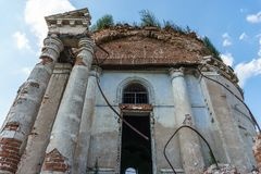 Ruins of abandoned ancientRussian  Orthodox church or temple or mansion. Toned Stock Photography