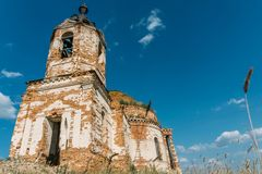 Ruins of abandoned ancientRussian  Orthodox church or temple or mansion Royalty Free Stock Photo