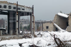 The ruins. Of an abandoned building in the snow Royalty Free Stock Images