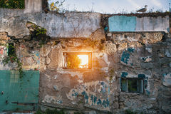 Ruins abandoned buildings. Travel around Portugal. Stock Photos
