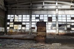 Ruins of abandoned factory or warehouse royalty free stock photos