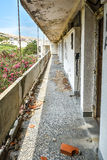 Ruins of abandoned hotel building Royalty Free Stock Images