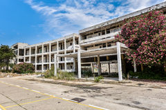 Ruins of abandoned hotel building Stock Photo
