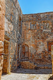 Ruins in the abandoned leper colony Spinalonga, Crete Royalty Free Stock Image