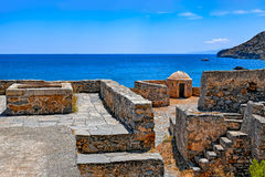 Ruins in the abandoned leper colony Spinalonga, Crete Royalty Free Stock Photo