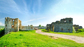 The ruins of an abandoned Pnivsky castle. At the end of the 15th century the Pnivsky  castle was built by the noble Kuropat family. near Nadvirna ( Ukraine ) Stock Photos