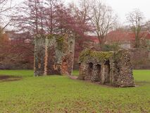 Ruins in the Abbey Gardens. Ruins of the Abbey of St Edmund royalty free stock photo