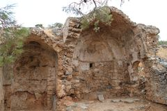 Church Ruins, Spinalonga Leper Colony Fortress, Elounda, Crete. Ruins of achurch at the historical site of Spinalonga leper colony fortress island, Elounda stock image