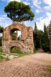 Ruins from Acquedotto Claudio and stone street in Palatine Hill Stock Photography