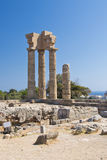 Ruins of acropolis. Ruins of ancient acropolis in Rhodes city, Rhodes island, Greece stock photography