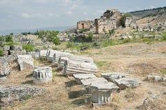 Ruins of acropolis Hierapolis in Pamukkale, Turkey Royalty Free Stock Image