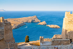 Ruins of Acropolis in the Rhodes Island. Lindos, Greece Stock Images