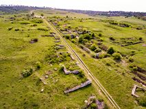 The ruins of Adamclisi Roman Fort in Dobrogea Romania. Aerial view of a historical site Stock Images