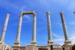 Ruins of agora in the city of Izmir. Ancient building with arche Royalty Free Stock Photo