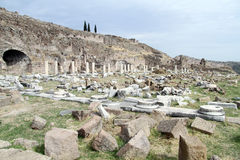 Ruins in agora. Ruins of columns and agora in Bergama, Turkey Stock Photography