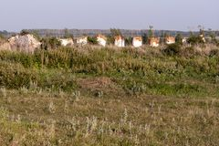 The ruins of an agricultural farm built during the Soviet era. stock photography