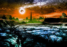 Ruins of Alien City on Faraway Planet. Derelict alien city in distance on cracked rocky landscape vector illustration