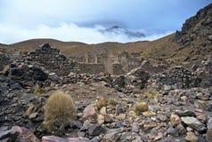 Ruins on Altiplano in Bolivia,Bolivia. Ruins with mountain backdrop  on Altiplano at Eduardo Avaroa National Reserve,Bolivia Stock Photography