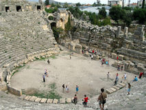 The ruins of the amphitheater in the ancient city of the World Stock Photography