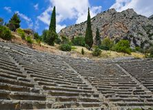 Ruins of amphitheater in Delphi, Greece Stock Photos