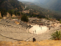 Ruins of the amphitheater in Greek Delphi royalty free stock photography