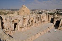 Ruins of amphitheater in Jerash, Jordan. Ruins of Jerash, Roman city near Amman in Jordan Royalty Free Stock Image