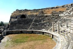 Ruins of amphitheater in Milet, Minor Asia, Turkey, Greek colony. In antiquity the city possessed a harbour at the southern entry of a large bay, on which two Royalty Free Stock Photo