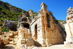 The ruins in amphitheater at Myra Stock Images