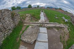 Ruins of the Ulpia Traiana Sarmizegetusa fortress, Romania Royalty Free Stock Photos