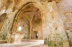Ruins of an ancient abandoned monastery. Royalty Free Stock Images