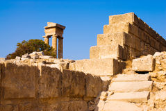 Ruins of the ancient Acropolis. Rhodes. Greece Stock Photos