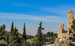 The ruins of the ancient Acropolis of Athens in sunny summer day with blue sky, Greece, Europe royalty free stock photo