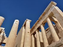 The acropolis of Athens, Greece. Ruins of the ancient acropolis of Athens, Greece royalty free stock image