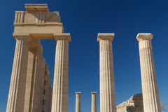 Ruins of the ancient acropolis in Lindos, Rhodes island Royalty Free Stock Images