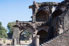 Ruins of Ancient Afghan Architecture with Arches and Pillars stock photography