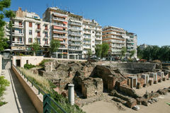 Ruins of Ancient Agora in the historic center of city in Thessal Stock Images