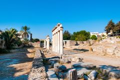 Ruins of the ancient Agora, Kos island. Ruins of the ancient Agora - archaeological site in Kos island, Greece Stock Images