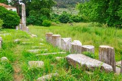 Ruins of ancient Agora in Thassos, Limenas, Greece. Ruins of ancient Agora in Thassos capital, Limenas, Greece Stock Photography