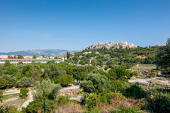 Ruins of the ancient Agora & x28;Forum& x29; of Athens with Acropolis in t Royalty Free Stock Photo