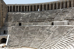 Ruins of ancient amphitheater in Aspendos Stock Photo