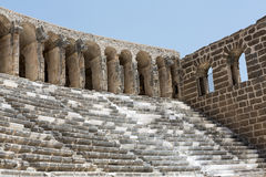 Ruins of ancient amphitheater in Aspendos Royalty Free Stock Image