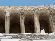 Ruins of ancient amphitheater in Aspendos, Royalty Free Stock Photo