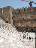 Ruins of ancient amphitheater in Aspendos, Royalty Free Stock Images